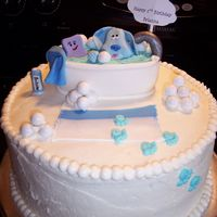 Blue's Clues Blue and Slippery in the bubble bath! All fondant details. (except Happy B-day sign)