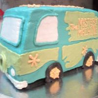 Scooby's Mystery Machine Buttercream, completely. Its a 11x15 cake cut into fourths and stacked on top of each other.