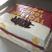 Hsm 10Th Birthday Buttercream frosting with chocolate transfers for the jumping kids and the lettering, fondat cut out stars. Kept changing my mind on how I...