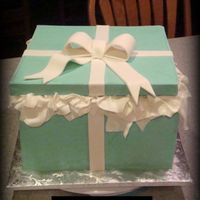 Tiffany Box Bridal Shower Cake  this was my first try at a tiffany box! love the tissue idea( also hides little mistakes ;) not happy at all with the corners of the box...