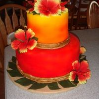 Hawaiian/tropical Birthday Cake Airbrushed the colors and painted the fondant around the cake to look like bambo!