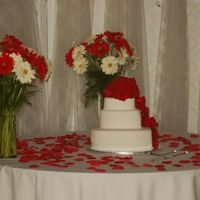 L_45Cd11Fc6Dd45D1Ee060Aefac004.jpg  2nd wedding cake that i ever did! i really like what the bride did with the rose petals and the flowers around the cake :) the cake layers...