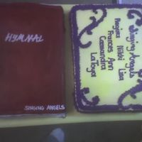 Choir Anniversary this is a hymnal and a small cake with members name. the hymnal is upside down but i dont think they noticed