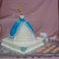 "Cinderella Birthday Cake  Used a Wonder Mold cake pan with a 10"" round pan underneath and carved tapering to fit. Placed a Cinderella doll in center and covered..."