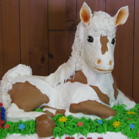 3D Horse B-Day Cake  First try at a 3D horse cake. The head and legs are RK treats (first try working with also). The ears, eyes and spots are fondant. The...