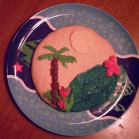 Palm Tree On Sugar Cookie Island An 8 inch practice cookie, just to see if I could pipe a palm tree.