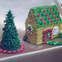 Peanut Butter Buttercream House First gingerbread house & Cone Tree. This is one of 3 I made. The worst house, but the best picture - oh, well...