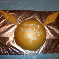 Golden Snitch Birthday Cake  Golden Snitch birthday cake for my 9 year old who is finishing up the last book of the Harry Potter series. I wanted to add more details/...