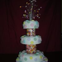 Dscn0621.jpg 3 tier polka dot cake with dolly mixtures between tiers