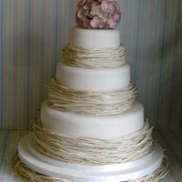 Hydrangea Wedding Cake 3 x 5inch deep stacked wedding cake with sugar hydrangeas & raffia. It's vanilla sponge with vanilla buttercream & raspberry...