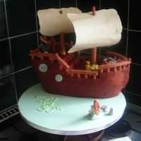 Pirate Cake chocolate sponge covered in fondant with pirate, mermaid, anchor and treasure detailing