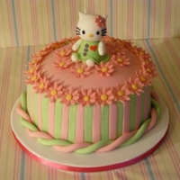 Hello Kitty Hello Kitty birthday cake for my little cousin's 21st. Loved modelling kitty & kept the rest of the design to a minimum.