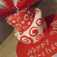 Red & White Topsy Turvey Cake 40th birthday cake, the breif I had was red & white and original. I think they liked it.