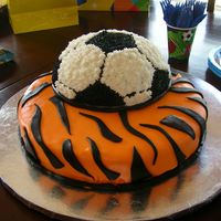 Tiger Soccer My son's birthday cake. Base cake is white with MMF, soccer ball is chocolate with buttercream Got this idea from a cake I saw on CC...