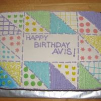 Quilt Inspired Birthday Cake This is a cake for my Aunt's 70th birthday. She is an avid quilter. Not as intricate as her actual quilts but was fun to do. Had a...