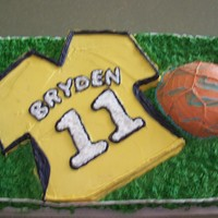 Soccer Jersey Cake marble cake with buttercream frosting. I carved out the jersey and added a separate cake for the soccer ball. My son loved it!