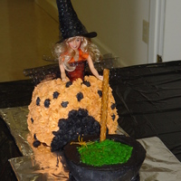Halloween Witch Cake Barbie witch cake is yellow cake with buttercream frosting. Cauldron cake is chocolate with chocolate buttercream frosting and piping gel...