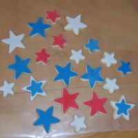 Star Cookies Mmf Only 7/06 This was the first step in decorating cookies for July 4th. Covered in MMF. My 7th grade niece and I worked on these.