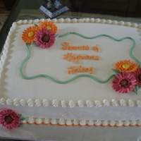 Bridal Shower Buttercream with gum paste gerber daisies