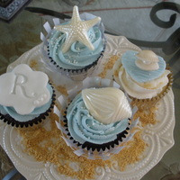Wedding Cupcakes- Sea Theme Buttercream with fondant toppers, and white chocolate