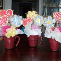 Valentine's Cookie Bouquets NFSC (put the bamboo skewers in after baking). The flower cookies are MMF with Antonia's royal accents. The hearts are Antonia's...