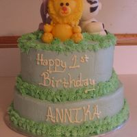 Jungle Birthday I did this cake for my daughters 1st birthday. I was a little disappointed with the animals, but it turned out pretty good. It was my first...