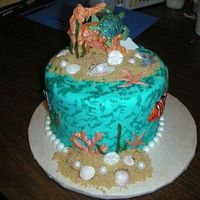 "Under The Sea I learned how to do this from Nicholas Lodge at the Great Lakes Mini Classes! It's a 6"" dummy cake using various coral and sea..."