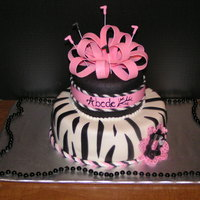 Pink Zebra This cake is a two tier cake done in all mmf. Decorations are gumpaste. Made matching cupcakes to go along with the cake. Thanks for...