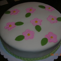 Just Because.. White cake with strawberry filling, fondant, brush embroidery