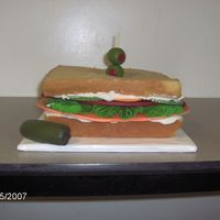 Baloney Sandwich butter pecan cake for wheat bread, bc mayo, fondant veggies. Nightmare cake, family loved it.