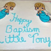 Tony's Baptism Cake First FBCT. Yellow cake with chocolate swirled in, strawberry filling. Not pleased with NEW CRISCO icing grrrrrrrrrr!! But enjoyed fbct can...