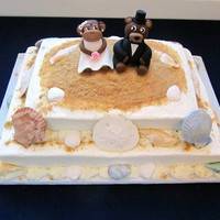 "Monkey & Bear Beach Cake Red velvet beach themed groom's cake with gumpaste sea shells, fondant/gumpaste monkey bride and bear groom, and graham cracker ""..."