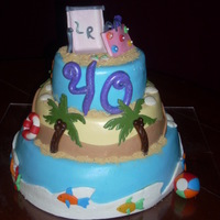 40Th Birthday Cake Beach Theme chocolate mud cake with raspberry filling. thanks for looking