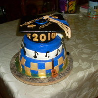 High School Graduation Cake This cake was for a customer who is musically gifted so naturally a muscial graduation cake was my thought. Red velvet cake top tier,...
