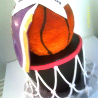 Basketball Birthday the cake is styrofoam..