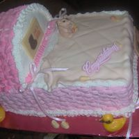 Baby Crib Cake This is a two layer sheet cake with a 9 inch round cake for the top. blanket and bear is fondant
