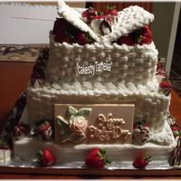 A Gift Of Love a basket weave cake with strawberries, open lid