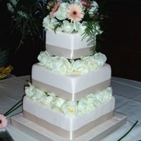 Dummy Wedding Cake Did this cake for a bride, she wanted a dummy cake and a sheet cake for the kitchen. Ivory fondant with fresh roses. She supplied the...