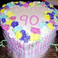 90Th Birthday White cake, cheesecake flavoured pudding with blueberry filling, BC and RI flowers.