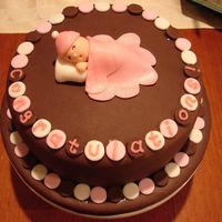 Sleeping Baby Girl Shower Cake   Sleeping Baby Girl Chocolate Shower Cake