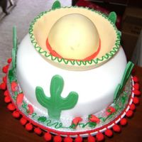 Fiesta Cake!   Chocolate Sombrero Cake with Cacti!