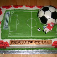Soccer Cake Made this for a team that won their championship. The border is decorated with each team member's jersey.