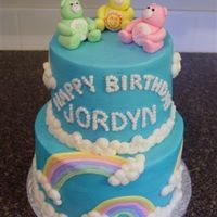 Care Bear Cake All buttercream with fondant bears