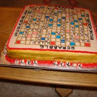 Another View Of Scrabble Cake  I made this cake for my grandmother's 80th birthday. We love to play scrabble and was able to fit all of my grandmother's kids,...