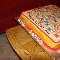3Rd View Of Scrabble Cake  I made this cake for my grandmother's 80th birthday. We love to play scrabble and was able to fit all of my grandmother's kids,...