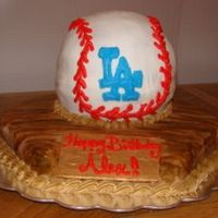Dodger Ball Birthday Cake   ball cake on a hexagon base with fondant plaque