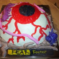 My Dh's Fear Factor Birthday Cake I thought it was appropriate to put this in the halloween catagory. Lol... My 7 yo DS designed this cake, and helped execute it. We baked...