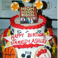 "High School Musical! The customer asked for HSM, and this is what I came up with. I thought that this theme was kind of challenging. 8"" and 10"" cakes..."