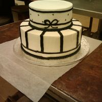 Small Wedding Cake 2 tier with black and white design