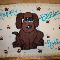 Puppy Dog Eyes 1/2 sheet marble cake with buttercream drawing